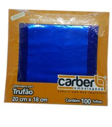 Embalagem p/ Trufas e Bombons Liso Azul Escuro 20 cm x 18 cm c/100 unidades