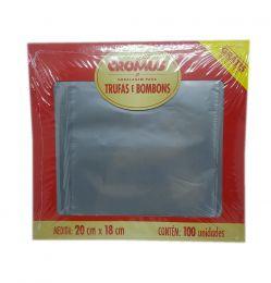 Embalagem p/ Trufas e Bombons Liso Prata 20 cm x 18 cm c/100 unidades