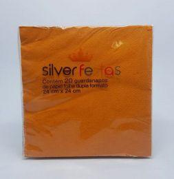 Guardanapo Silver Festas Laranja 24 cm x 24 cm c/20 unidades