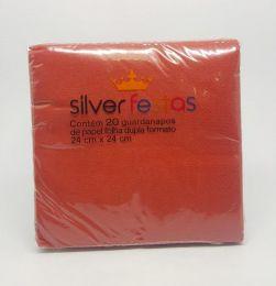 Guardanapo Silver Festas Vermelho 24 cm x 24 cm c/20 unidades
