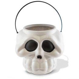 Mini Balde Plástico Cabeça de Esqueleto - unidade