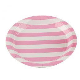 Prato de Papel Silver Plastic Listrado Rosa Claro 18 cm c/10 unidades