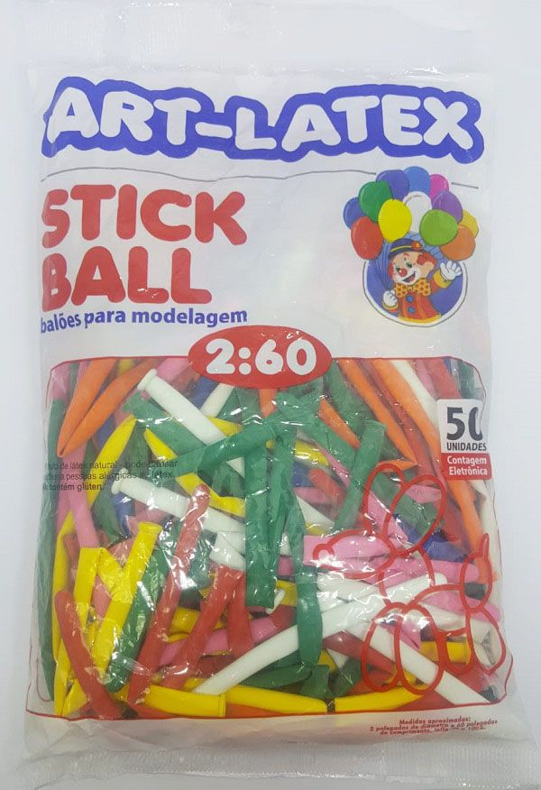 Balão Art-Latex Canudo Sortido c/50 unidades