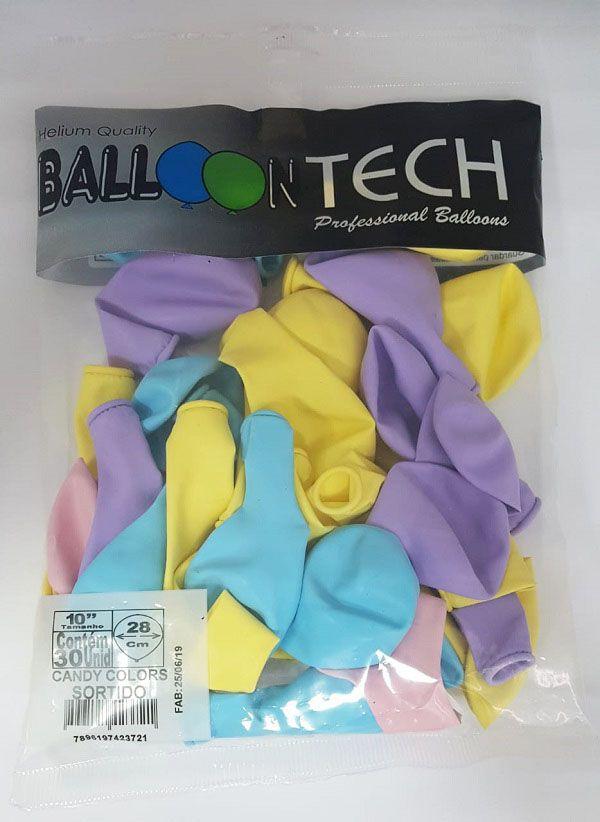 """Balão Balloontech 10"""" Candy Sortido c/25 unidades"""