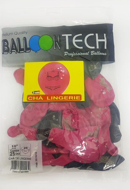 """Balão Balloontech 10"""" Chá Lingerie c/25 unidades"""