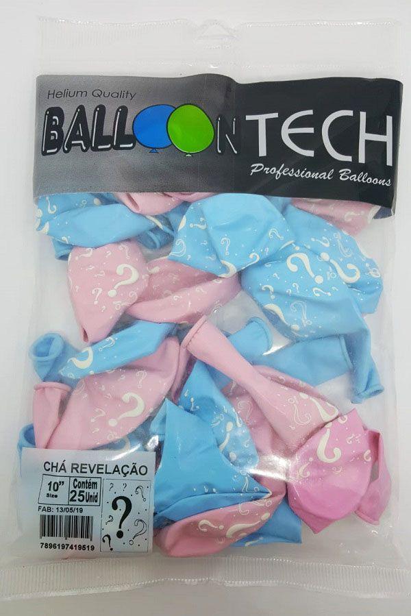 """Balão Balloontech 10"""" Chá Revelação c/25 unidades"""