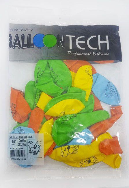 """Balão Balloontech 10"""" Zoológico c/25 unidades"""