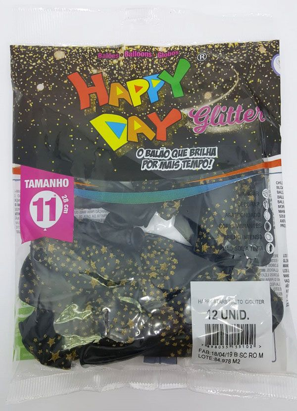 "Balão Decorado 11"" Happy Stars Preto c/ Glitter c/12 unidades"