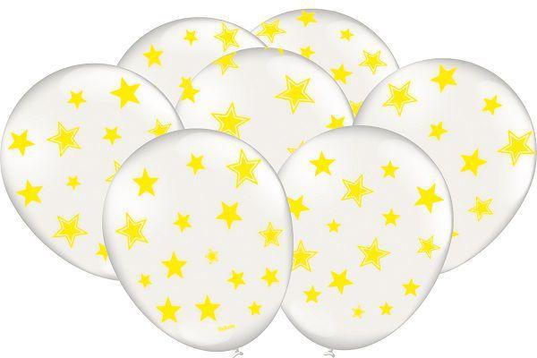 """Balão Decorado 9"""" Branco c/ Estrelas Amarelo Neon c/25 unidades"""