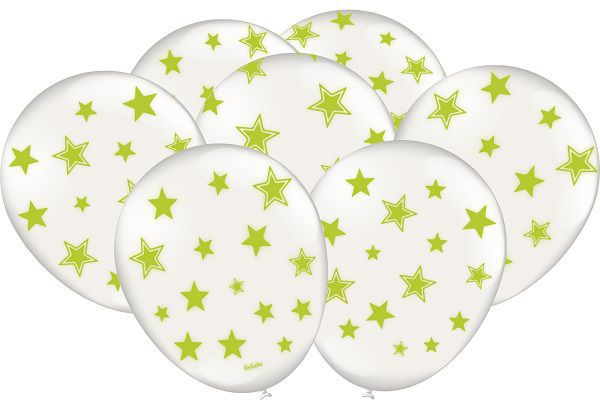 "Balão Decorado 9"" Branco c/ Estrelas Verde Neon c/25 unidades"