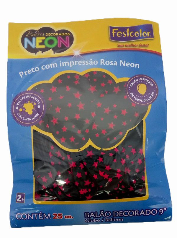 """Balão Decorado 9"""" Preto c/ Estrelas Rosa Neon c/25 unidades"""