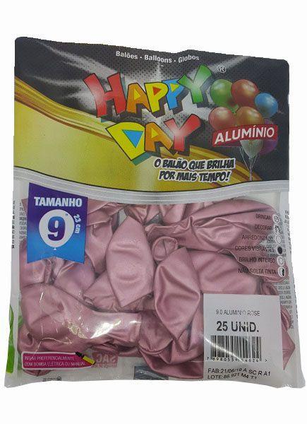 Balão Happy Day Alumínio Rose nº 9 - c/25 unidades