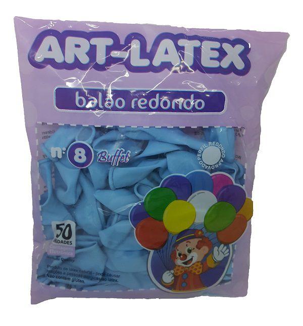 Balão Liso Art-Latex Azul Claro nº 8 - c/50 unidades