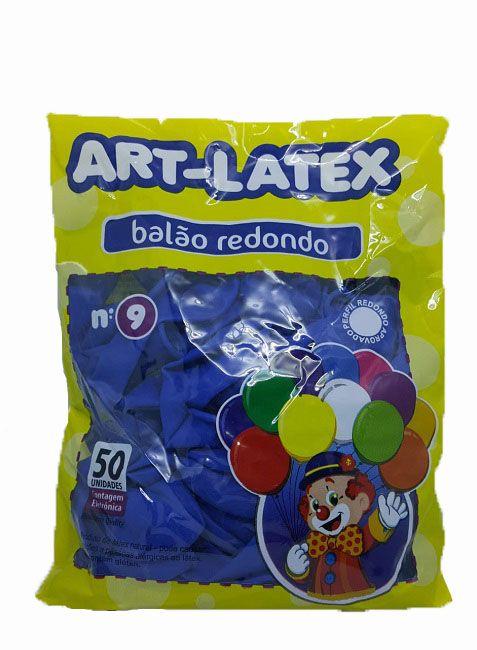 Balão Liso Art-Latex Azul nº 9 - c/50 unidades