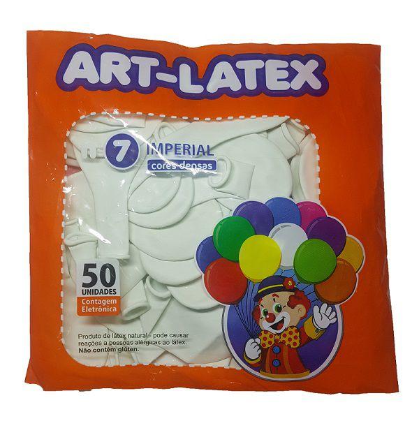 Balão Liso Art-Latex Branco nº 7 - c/50 unidades