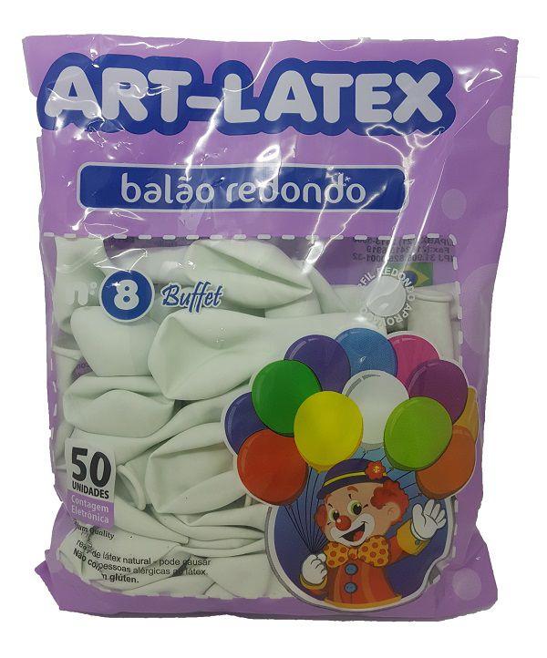 Balão Liso Art-Latex Branco nº 8 - c/50 unidades