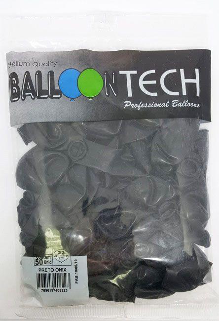 Balão Liso Balloontech Preto Onix nº 9 - c/50 unidades