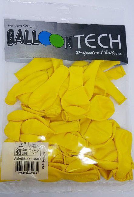 Balão Liso Balloontech Amarelo Limão  nº 7 - c/50 unidades