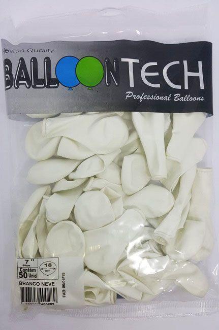 Balão Liso Balloontech Branco Neve  nº 7 - c/50 unidades
