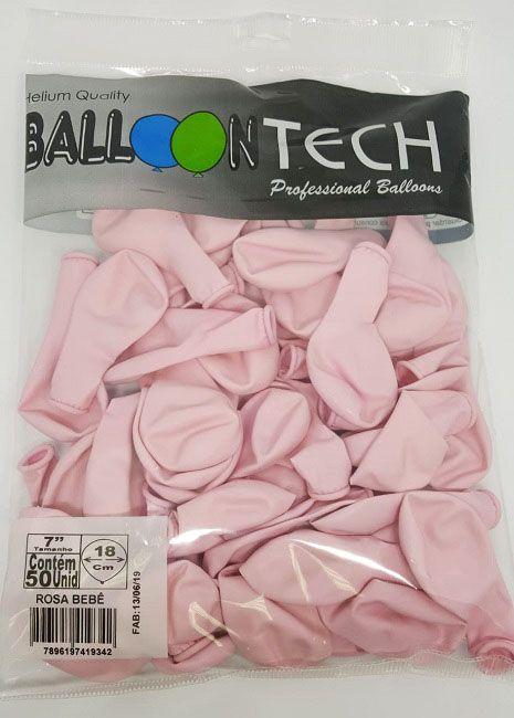 Balão Liso Balloontech Rosa Bebê  nº 7 - c/50 unidades
