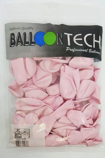 Balão Liso Balloontech Rosa Bebê nº 9 - c/50 unidades