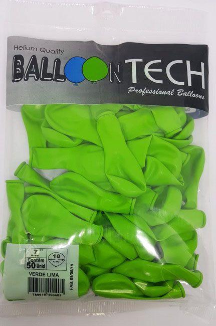 Balão Liso Balloontech Verde Lima nº 7 - c/50 unidades