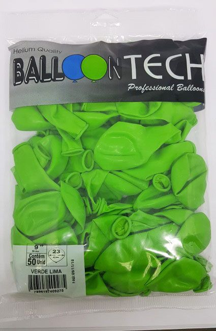 Balão Liso Balloontech Verde Lima nº 9 - c/50 unidades