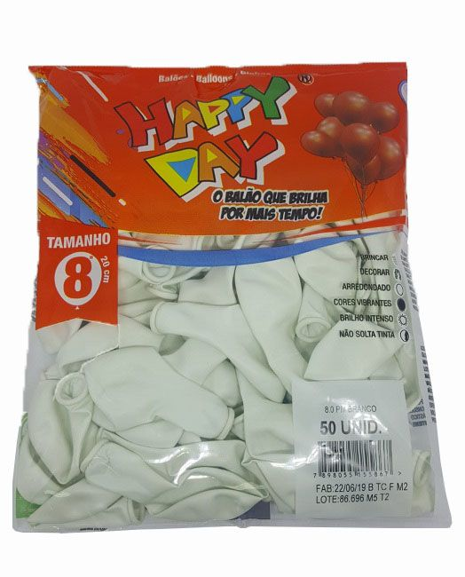 Balão Liso Happy Day Branco nº 8 - c/50 unidades