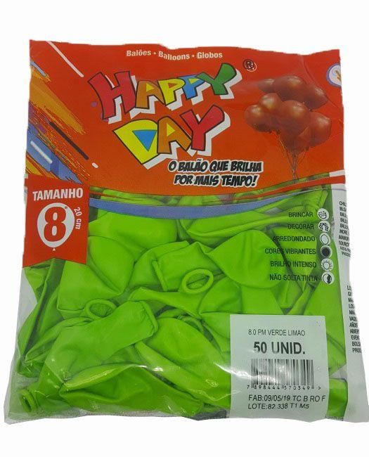 Balão Liso Happy Day Verde Limão nº 8 - c/50 unidades