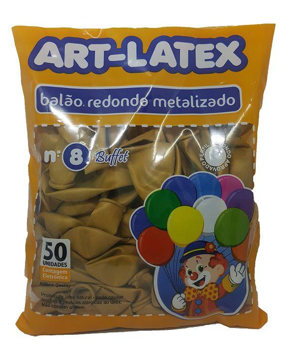 Balão Metalizado Art-Latex Ouro nº 8 - c/50 unidades
