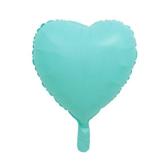 """Balão Metalizado Coração Verde Água Candy 18"""" polegadas 45 cm - unidade"""