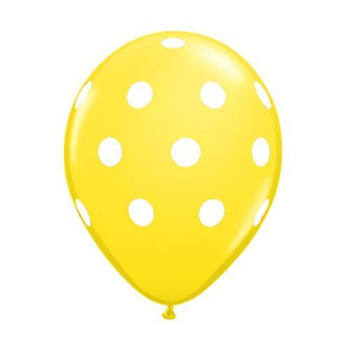 """Balão Pic Pic 10"""" Bolinha Amarelo c/ Branco c/25 unidades"""