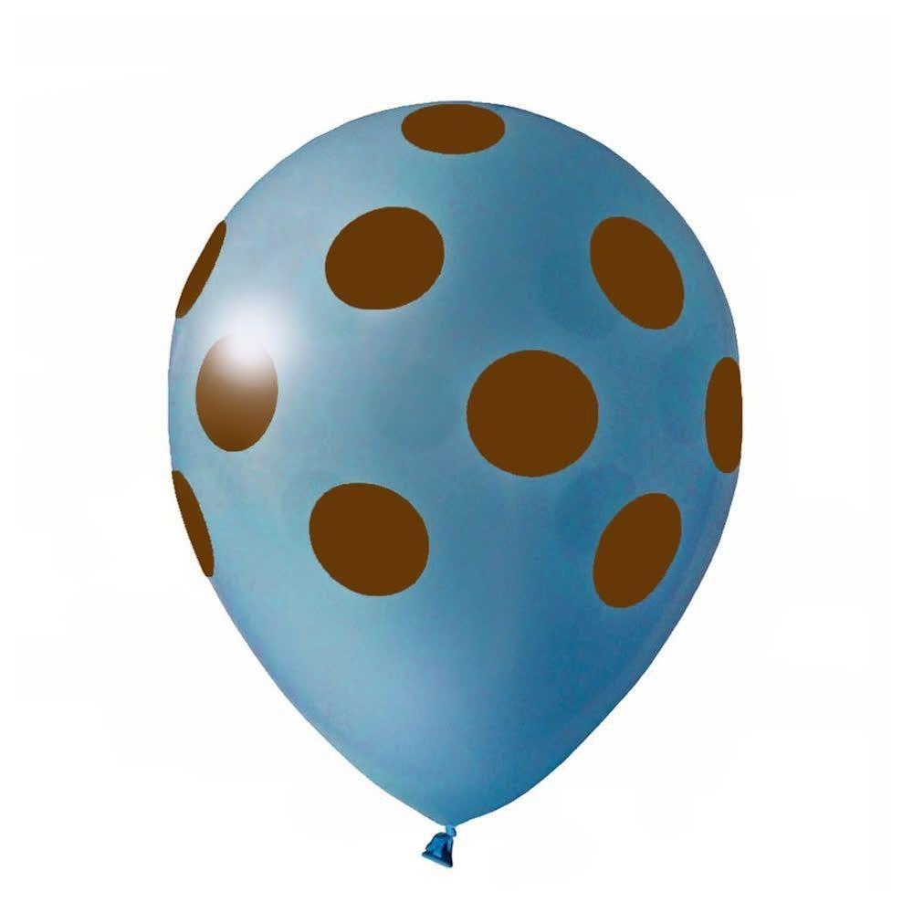 """Balão Pic Pic 10"""" Bolinha Azul Claro c/ Marrom c/25 unidades"""