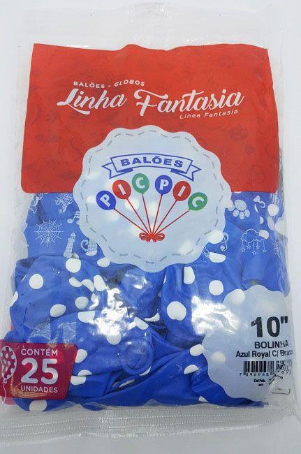 """Balão Pic Pic 10"""" Bolinha Azul Royal c/ Branco c/25 unidades"""