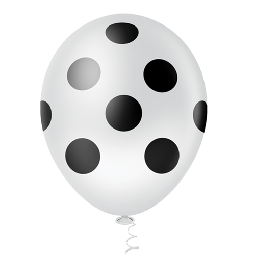 """Balão Pic Pic 10"""" Bolinha Branco c/ Preto c/25 unidades"""