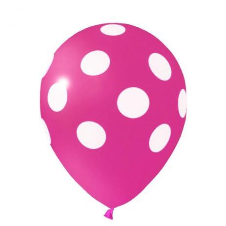 """Balão Pic Pic 10"""" Bolinha Rosa Forte c/ Branco c/25 unidades"""