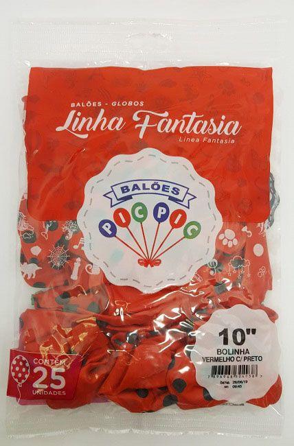 """Balão Pic Pic 10"""" Bolinha Vermelho c/ Preto c/25 unidades"""