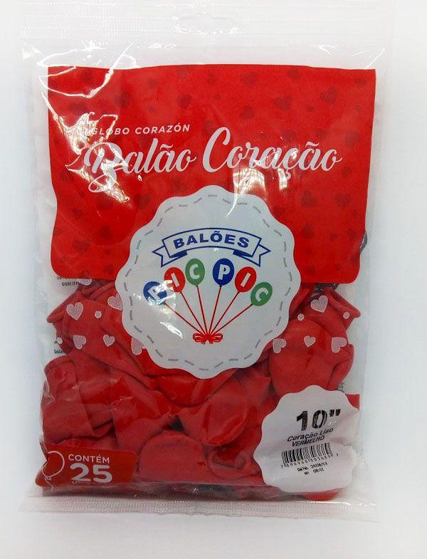 Balão Pic Pic Coração Vermelho nº10 c/50 unidades