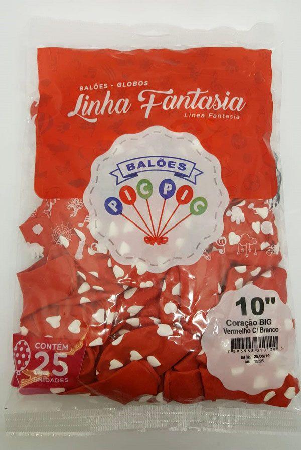 Balão Pic Pic Decorado Coração Big Vermelho c/ Branco nº10 c/25 unidades