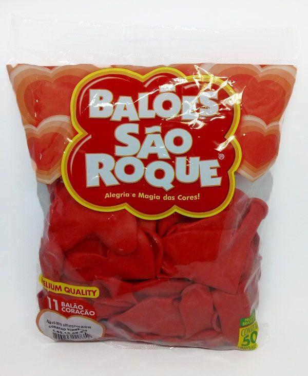 Balão São Roque Coração Vermelho nº11 c/50 unidades