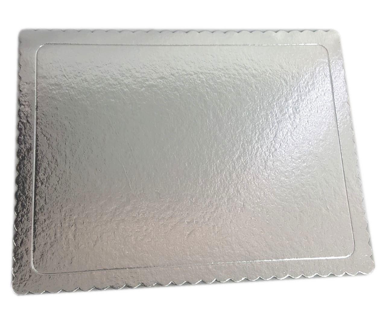 Base para Bolo Cakeboard Retangular Prata 40 cm x 30 cm - unidade
