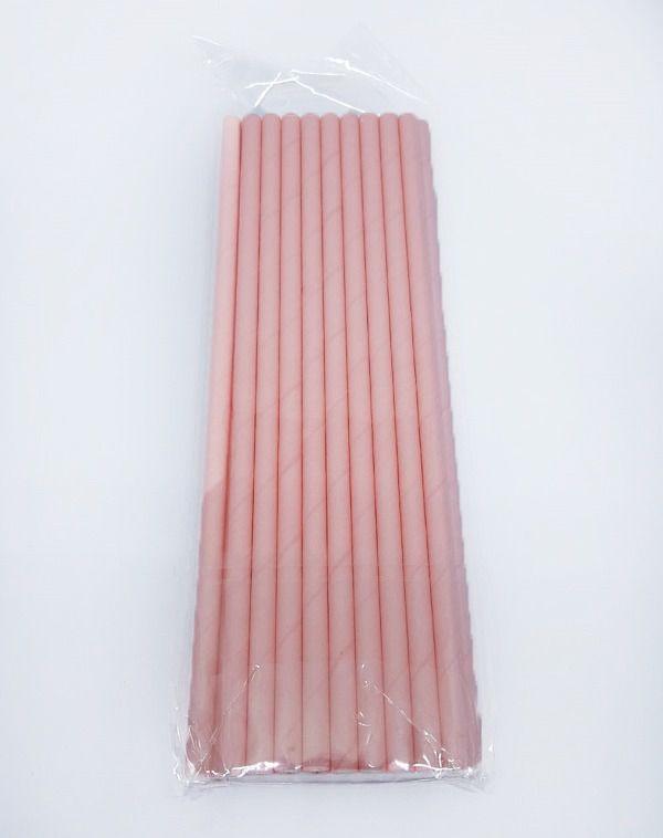 Canudo de Papel Liso Rosa Bebe c/20 unidades