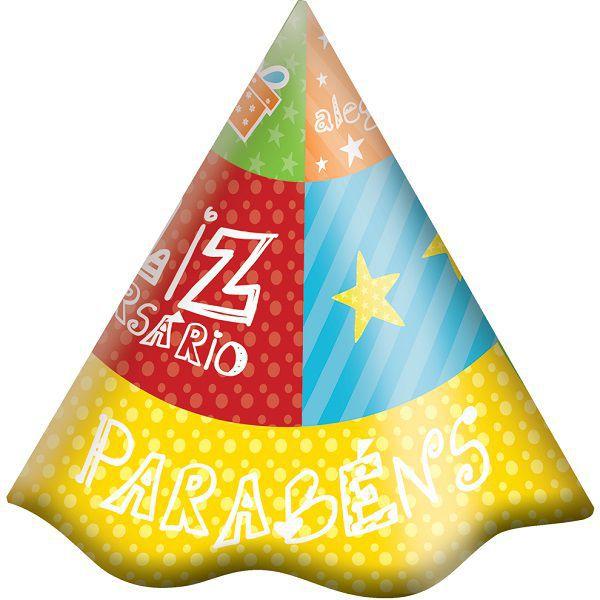 Chapéu Decorado Feliz Aniversário c/08 unidades