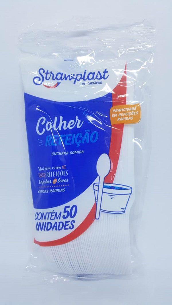Colher Refeição Strawplast Branca c/50 unidades