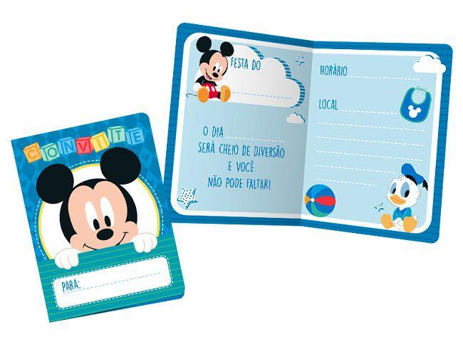 Convite Baby Disney Mickey c/08 unidades