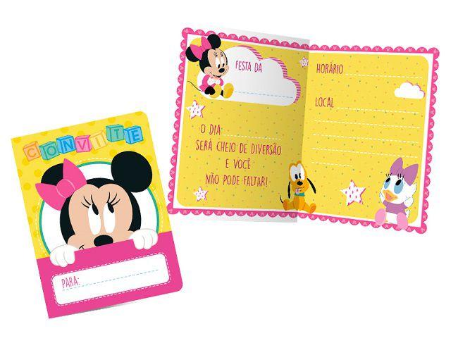 Convite Baby Disney Minnie c/08 unidades
