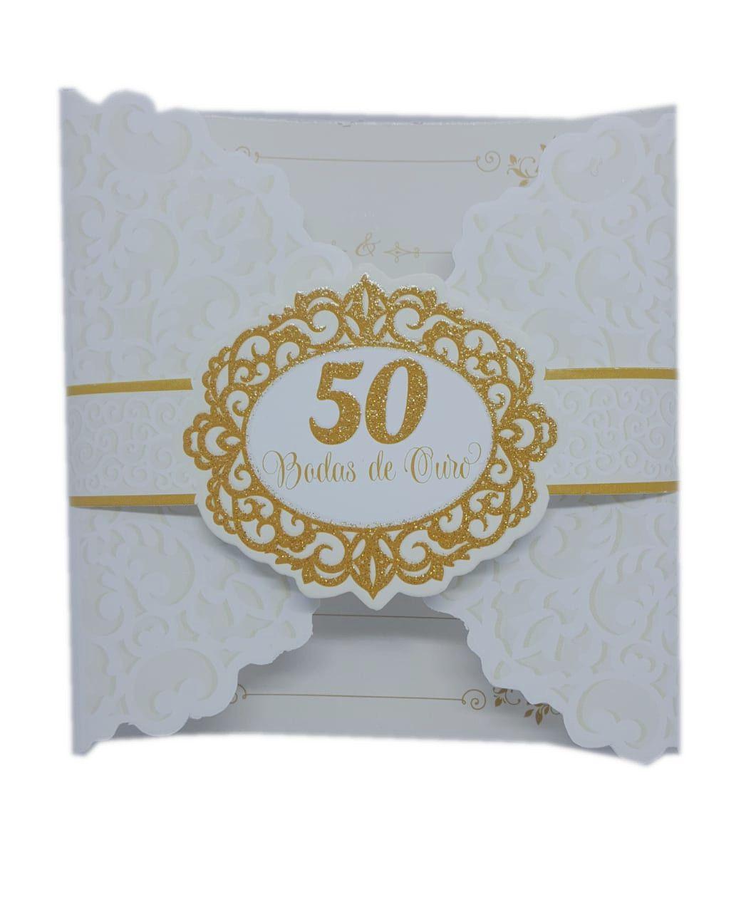 Convite Bodas De Ouro Premium c/08 unidades