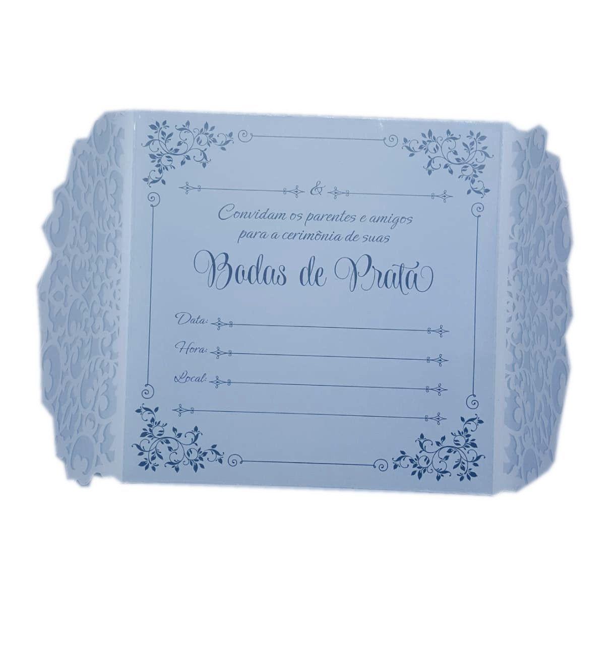 Convite Bodas De Prata Premium c/08 unidades