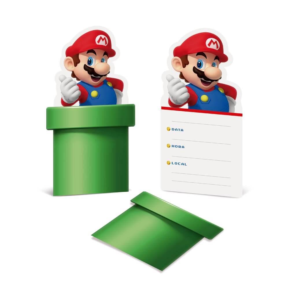 Convite Super Mario c/08 unidades