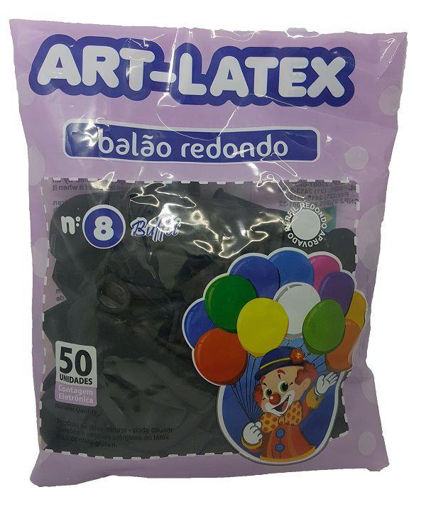 Balão Liso Art-Latex Preto nº 8 - c/50 unidades